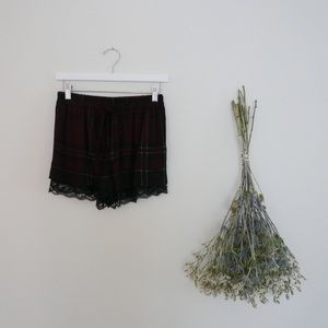 Pants - Dark Rouge Plaid Shorts